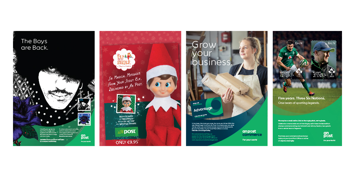 Print work for An Post Thin Lizzy campaign, Christmas Elf on a Shelf POS, Advantage Card press, Six Nations Rugby campaign